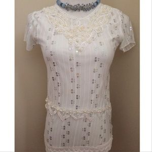 Tops - Pearls and Lace White Tee